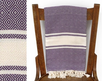Luxury Turkish Towel Handwoven Turkish Bath Towel Throw Blanket Picnic Blanket Fouta Towel Soft Cotton Towel Shawl Purple CHIMERA PESHTEMAL