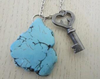 "Pendant vintage ""The Turquoise key"""