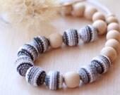Grey Striped Crochet Nursing Necklace - Breastfeeding Necklace in Grey Colors-  Teething necklace with crochet beads- Babywearing jewelry