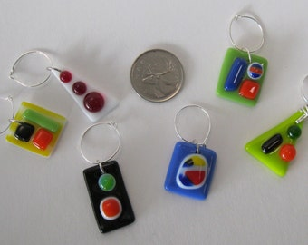 Fused Wine Glass Charms - Set of 6 (WC014)