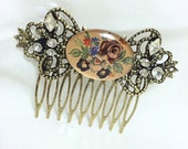 Vintage Style Roses and Rhinestones Antique Brass Metal Hair Comb
