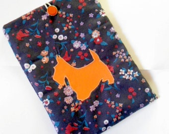 ipad cover with real leather scottie dog applique
