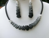 Black and white gradient Fimo jewelry set/ choker with hanging dangling earrings with or without studs with steel posts/ polymer wire beads