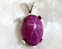 14x10 Star Ruby Pendant Lab created set in Solid 925 Sterling Silver