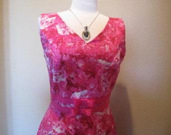 Springtime, Pink floral Career Dress