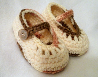 Crocheted Baby Girl Booties Ivory Pink and Brown Baby Booties Ivory Mary Janes Crocheted Mary Janes