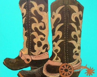 "Western Cowboy Art - ""These Boots Were Made For Walkin' "" - Painting by Lorraine Skala"