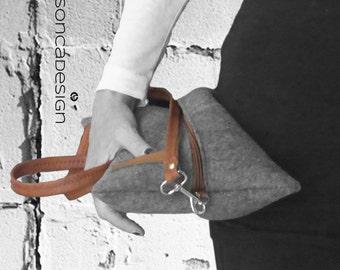 Clutch handbag shoulder bag gray wool felt