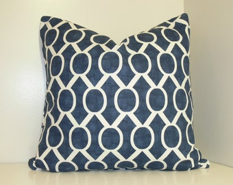 PILLOW and SHAM Cover - Pillow Cover King Queen Euro Reg. 12 16 18 20 24 26  DecorativeThrow Pillow Sydney Navy Blue and White