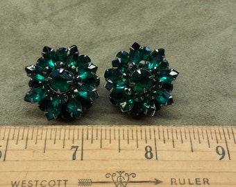 Vintage Green Glass Rhinestone Earrings