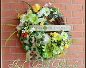 Irish Blessings Shamrocks and Daisies St.Patrick's Day Wreath, Spring Wreath, Hydrangea, Peony, clover