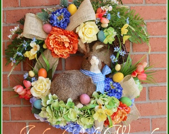 Large Coral Blue Yellow Spring Easter Bunny Rabbit Wreath, Jute, Tulip, Peony, Burlap, Easter egg, rustic, cottage, Garden