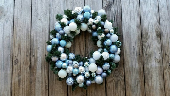 Christmas Wreath, Holiday Wreath, Ornament Wreath, Custom 20 Inch Pine Wreath With Blue, White, and Silver Ornaments