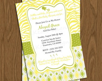 DIY Printable 4x6 Baby Shower Invitation-Animal print and diamonds Yellow and Green neutral