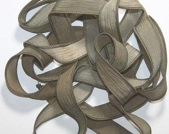Sassy Silks Hand Painted Silk Ribbon Tea Leaves