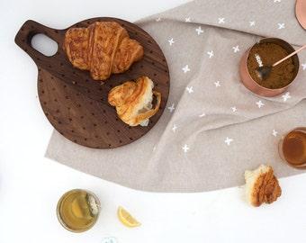 Linen Tea Towel - White Plus Pattern - Modern Minimal Kitchen Towel