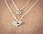 Mother Cutout  Heart with Personal One(1) Initital  Necklace, Sterling Silver Heart Jewelry, Friendship Necklace Gift,  Mother Necklace