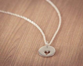 Mother and Daughters Cutout Heart  Necklace, Sterling Silver Heart Jewelry, Valentine Gift, Frendship, Sweetheart Necklace