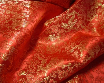 """Chinese brocade fabric in bright red with golden dragons - 1 yard of bright red brocade with dragon pattern, 35.5"""" wide Chinese satin fabric"""