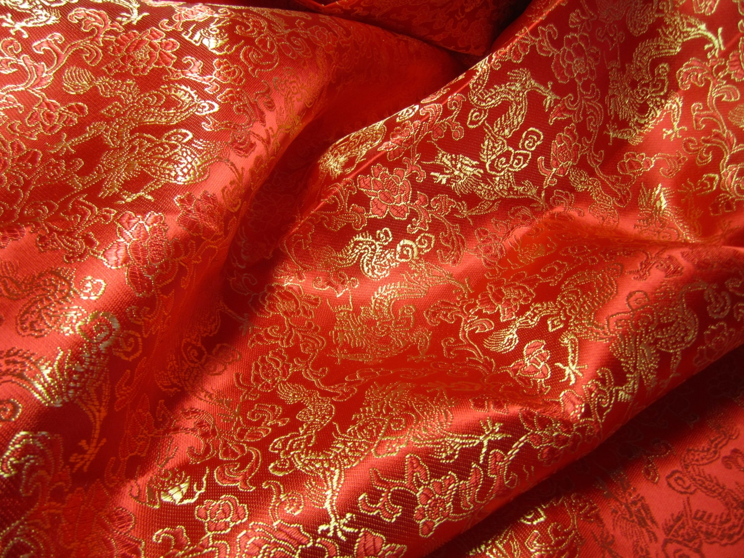chinese brocade fabric in bright red with golden dragons 1. Black Bedroom Furniture Sets. Home Design Ideas