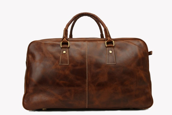Handmade Large Leather Travelling Bag  Briefcase Camping Bag Travel Duffle Men's Handbag 7156