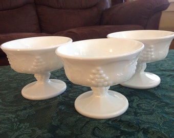 Milk glass custard dish
