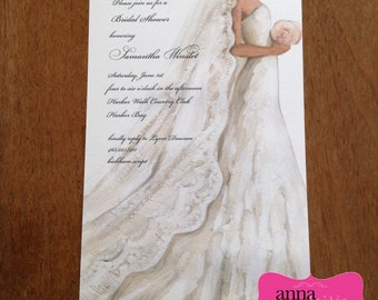 Elegant & Beautiful BRIDAL SHOWER Invitations - All wording, fonts, and font colors Customized