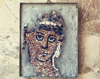 mosaic / stone mosaic / antique mosaic style / roman mosaic / red, black, gray / religious mosaic / bible mosaic / wall art mosaic