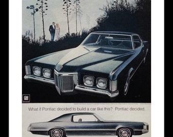 Couple Walking in the Park.  69 Pontiac Grand Prix.  AF VK Illustration.   Ready for Framing.