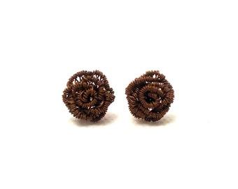 Rose earstuds, rose earrings, rose post earrings, copper post earrings, wire wrapped earstuds