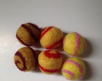 6pcs Needle Felted Swirl Felt Balls