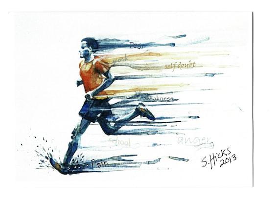 Runner inspirational watercolor art print 5X7 card of man