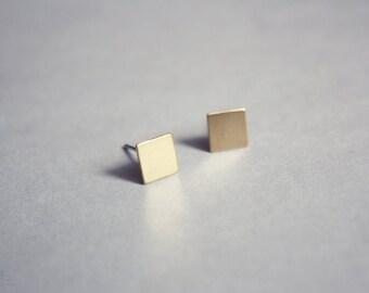 minimalist square studs - dainty raw brass geometric jewelry / gift for her