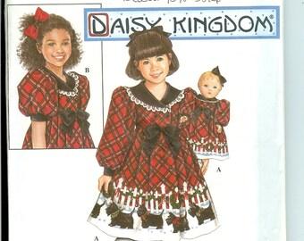 "Daisy Kingdom  Pattern Simplicity 8827  Size 3 4 5 6  Girls Dress and 18"" doll Uncut"
