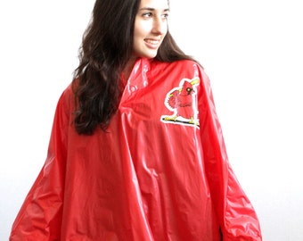 80s St. Louis CARDINALS rain parka JACKET coat MAJOR League Baseball