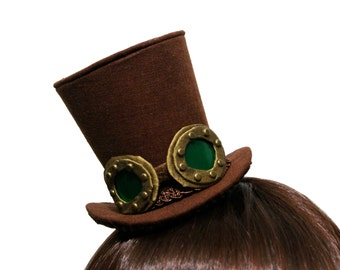 Ultra Mini Riveted Green Lens Goggles Steampunk Top Hat