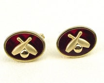 50s Signed Cuff links Ruby Red Bowling Vintage