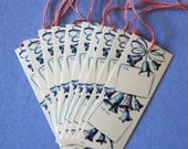 Vintage Kaycrest Christmas Gift TAGS - Pretty BLUE BELLS - 1950s 1960s