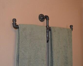 Industrial Double Bath Towel Hanger