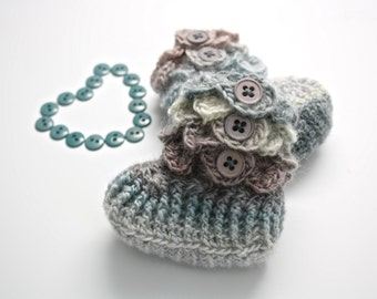 Crochet Baby Booties. Crocodile Stitch. Grey Ombre Baby Booties. Merino Wool. Baby Boots. Baby Gift. Baby Socks.