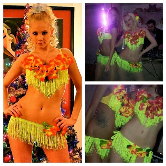 Sexy neon go go club dance showgirl two-piece costume with fringe and flowers