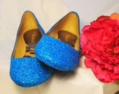 Wedding Shoes~Flower Girl Shoes~ Bridal Shoes~ GLITTERED BALLET FLATS~ Custom Colors~ David's Bridal Color Marine Blue
