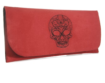 Skull clutch Bag. Red suede clutch bag. Clutch purse. Evening bag.