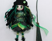 Halloween Witch Handmade Green Black Art Doll OOAK Broomstick Witches Hat