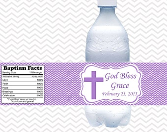 Cross Purple Baptism Christening First Holy Communion  - Personalized water bottle labels - Set of 5  Waterproof labels