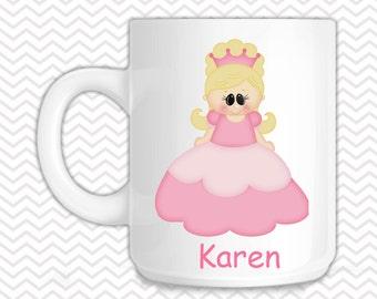Princess Kids Mug - Personalized Princess Mug - Customized Mug - Melamine Cup - Personalized Kids cup