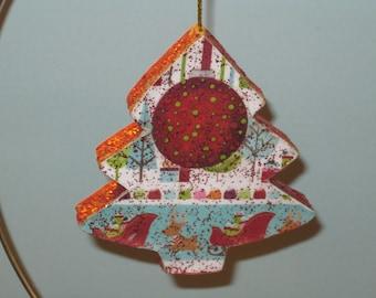 Glitter Christmas Tree Paper Mache Decoupage Ornament