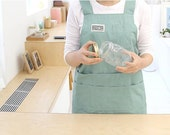 Free Shipping Cozymom Japanese style H shape Natural linen Cotton APRON-Mint,Black,Beige color