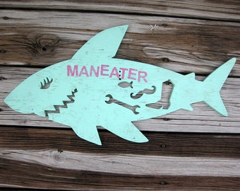 Shark, man-eater, wood sign, wall art, beach decor, distressed, cottage chic, coastal, fish