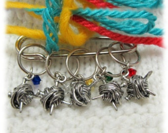 Snag Free Ball of Yarn Stitch Markers Sterling Silver Rings